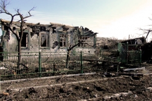 Homes ruined by war in Lugansk, Ukraine